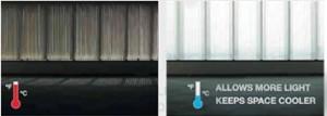 מימין:  שימוש ב- Plexi Light: מחדיר יותר אור טבעי, דוחה קרני שמש ומשאיר את האזור קריר יותר משמאל: שימוש בהצללה רגילה
